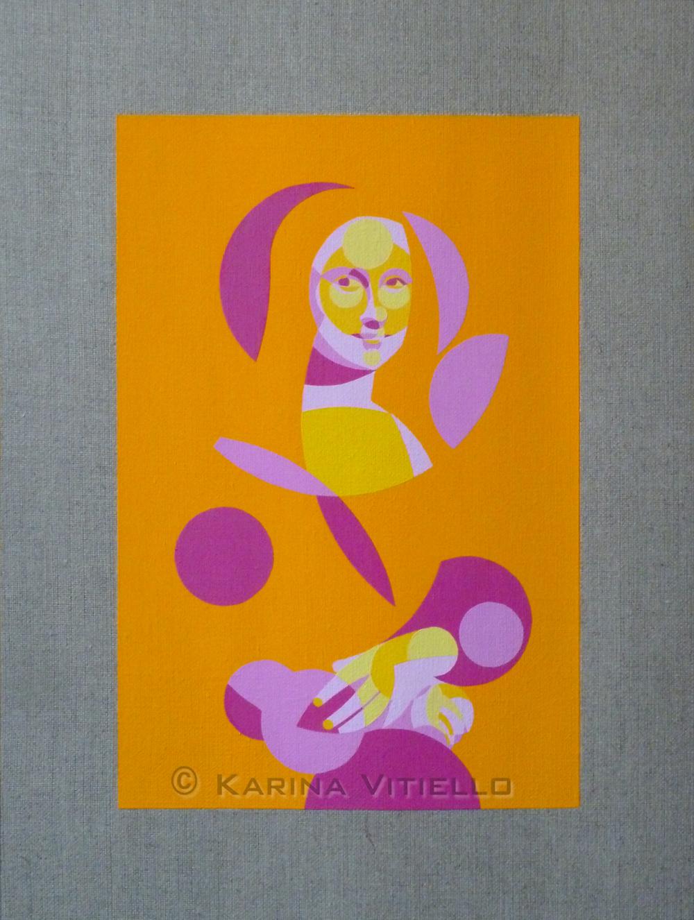 LISA MONA 2013 Acrylique extra-fine sur toile de lin / Acrylic on linen Vernis sélectifs mat et brillant / Mat and glossy varnish Toile non tendue 30x40cm - partie peinte 20x30cm / Unstretched linen 30x40cm - painted area 20x30cm Fait en 8 exemplaires originaux numérotés et signés au dos / Made in 8 original copies numbered and signed at the back Tous droits réservés copyright © Karina Vitiello